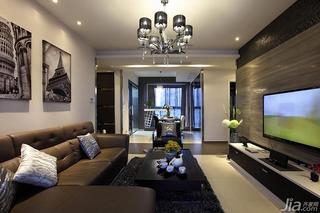 新古典风格三居室120平米电视背景墙客厅灯效果图