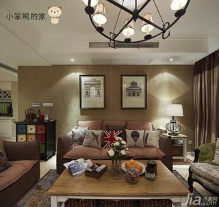美式风格三居室130平米沙发背景墙客厅灯效果图