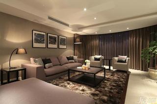 现代简约风格四房140平米以上客厅沙发背景墙客厅灯效果图