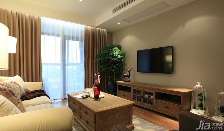 美式风格三居室富裕型电视背景墙电视柜图片