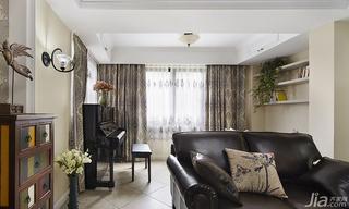 美式风格三居室140平米以上阳台窗帘效果图