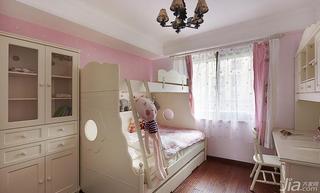 美式风格三居室粉色140平米以上儿童房高低床图片