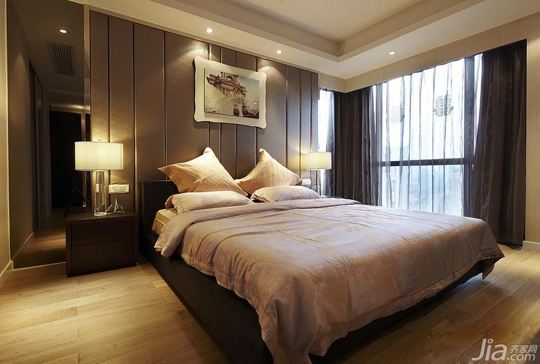 新古典风格三居室140平米以上卧室软包背景墙地板图片