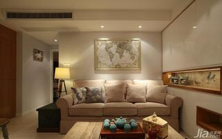 中式风格三居室70平米客厅沙发背景墙客厅灯效果图