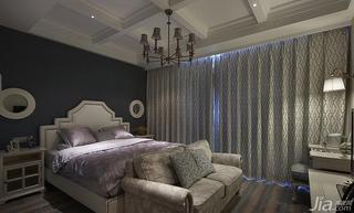 美式风格复式140平米以上卧室卧室背景墙窗帘效果图