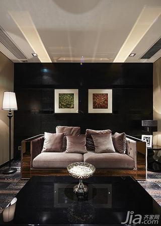 新古典风格复式豪华型沙发背景墙客厅灯效果图