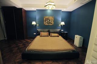 美式风格别墅蓝色140平米以上卧室床效果图
