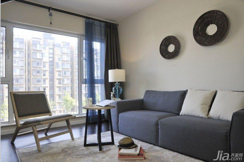 宜家风格二居室蓝色90平米沙发背景墙沙发图片