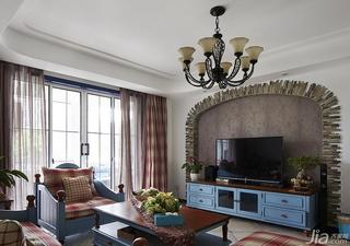 地中海风格四房140平米以上客厅电视背景墙电视柜效果图