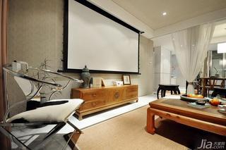 新中式风格三居室110平米客厅电视背景墙电视柜图片