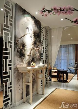 中式风格三居室110平米玄关屏风隔断屏风效果图