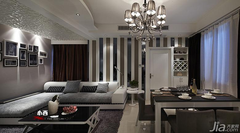 现代简约风格三居室90平米客厅背景墙装修效果图
