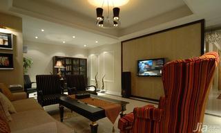 欧式风格二居室100平米开放式书房电视背景墙茶几效果图