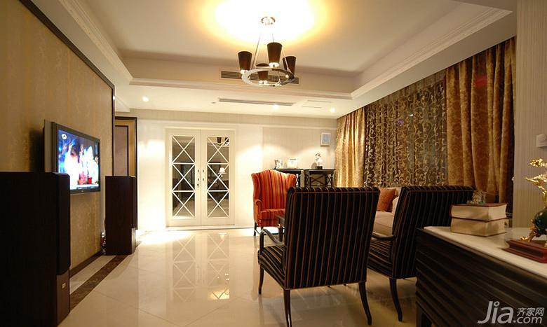 欧式风格二居室100平米电视背景墙窗帘图片