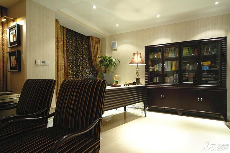 欧式风格二居室100平米书房书柜图片