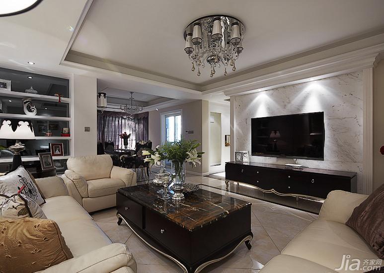 新古典风格三居室富裕型电视背景墙茶几效果图