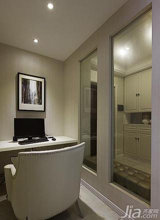 新古典风格三居室140平米以上小书房玻璃隔断效果图