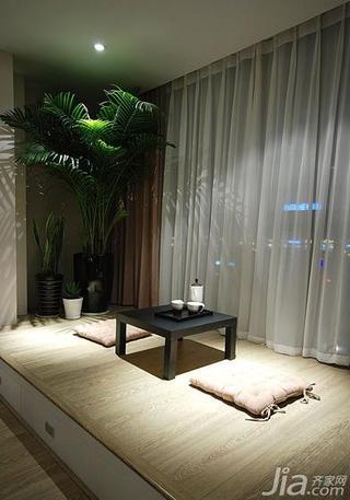 现代简约风格三居室130平米阳台地台榻榻米效果图