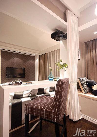 现代简约风格三居室90平米开放式书房吧台效果图高清图片