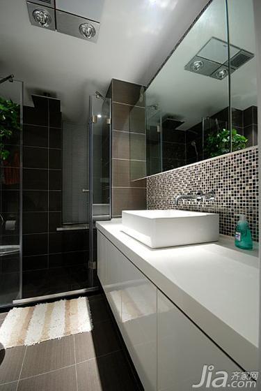 现代简约风格三居室90平米卫生间马赛克背景墙洗手台效果图