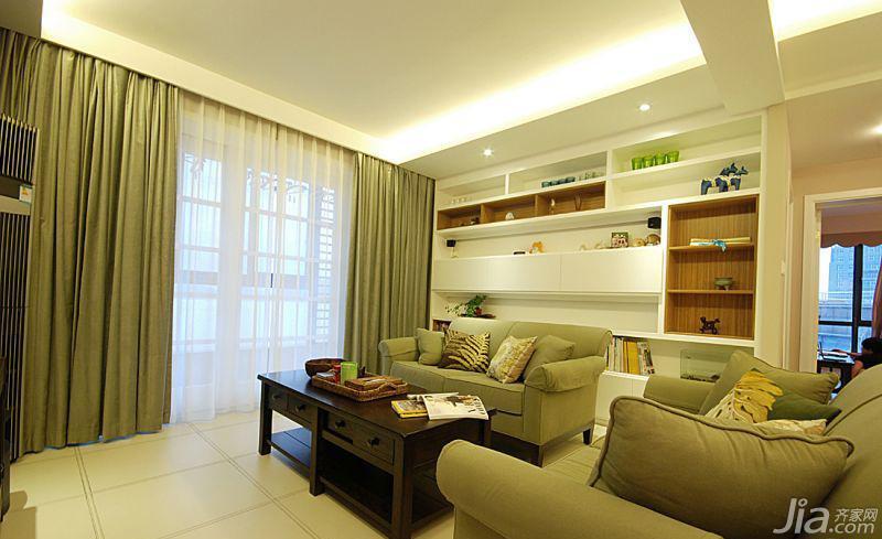 美式风格三居室绿色100平米客厅沙发图片