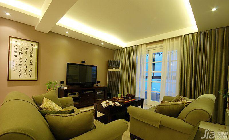 美式风格三居室绿色100平米电视背景墙沙发图片