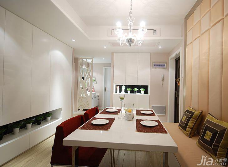 现代简约风格三居室90平米餐厅软包背景墙餐桌效果图