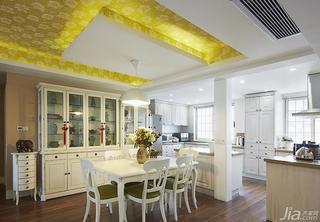 美式风格三居室140平米以上餐厅吊顶餐边柜图片