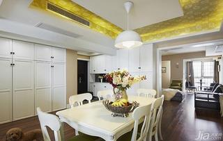 美式风格三居室140平米以上餐厅吊顶餐桌图片