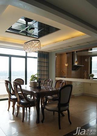 混搭风格复式140平米以上餐厅吊顶餐桌图片