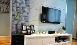 混搭风格二居室70平米电视背景墙电视柜效果图