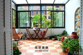地中海风格四房140平米以上阳光房地砖效果图