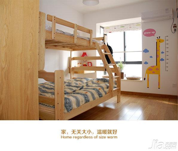 日式风格二居室原木色90平米儿童房儿童床效果图