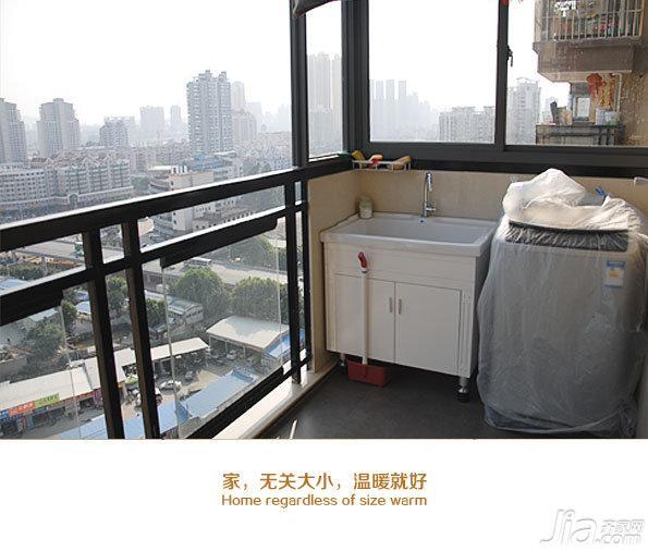 日式风格二居室90平米阳台浴室柜图片
