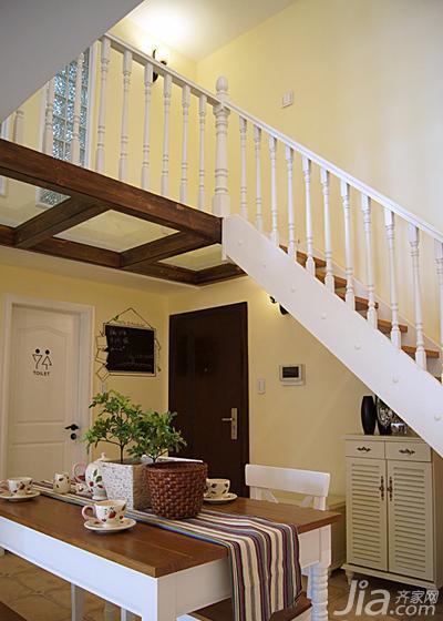 地中海风格复式50平米餐厅楼梯装修效果图图片