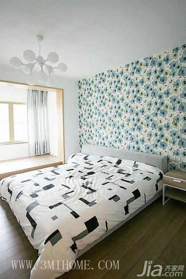三米设计四房卧室卧室背景墙壁纸80后家装图