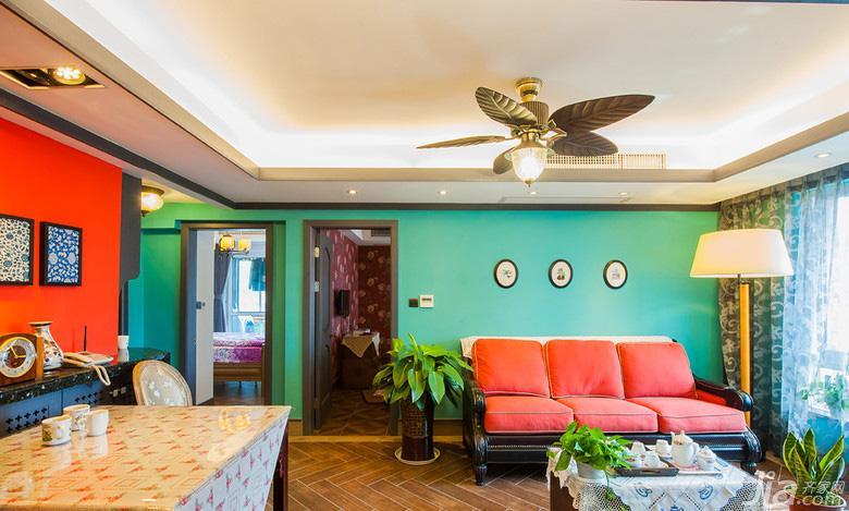 混搭风格三居室绿色90平米客厅装修效果图