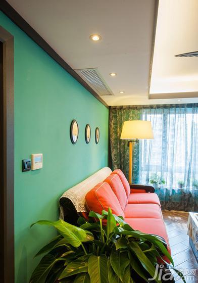 混搭风格三居室绿色90平米沙发背景墙沙发图片