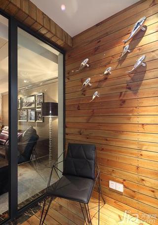 现代简约风格三居室原木色130平米阳台背景墙设计图