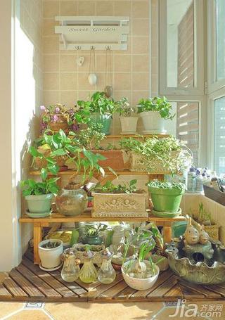美式乡村风格二居室小清新90平米阳台室内植物效果图