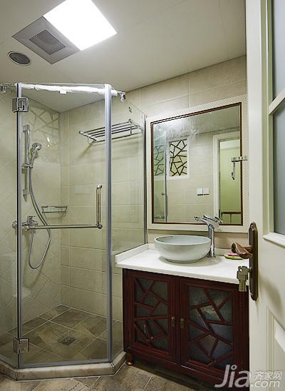 美式乡村风格复式140平米以上卫生间淋浴房设计图高清图片