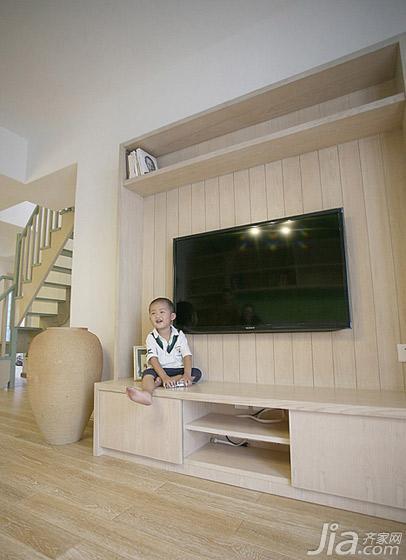 三米设计混搭风格复式电视背景墙电视柜图片