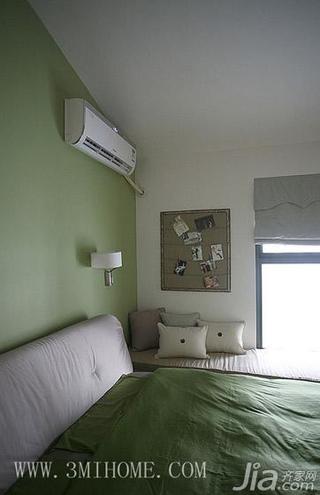 三米设计混搭风格复式卧室卧室背景墙效果图