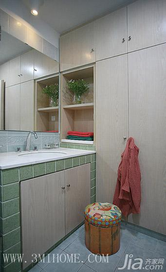 三米设计混搭风格复式卫生间浴室柜效果图