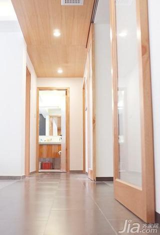 简约风格二居室原木色120平米过道地砖效果图