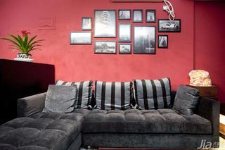 简约风格小户型红色40平米客厅照片墙沙发效果图