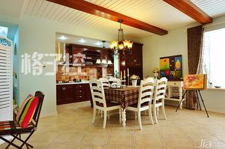 美式乡村风格三居室140平米以上餐厅吊顶装修图片