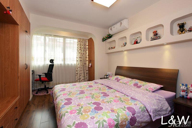 田园风格一居室40平米卧室装修图片