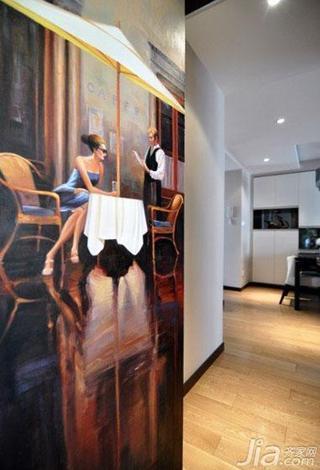 现代简约风格二居室90平米隐形门效果图