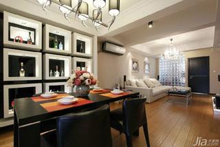 现代简约风格三居室120平米餐厅酒架图片
